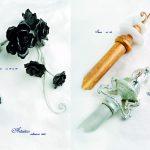 Profili artigianali in ferro battuto made in Italy. Decorazioni in vetro di Murano e Swarovski certificati. Vasta gamma di colori sia per i profili che per le decorazioni.